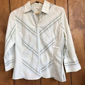 Merona striped button front shirt, medium